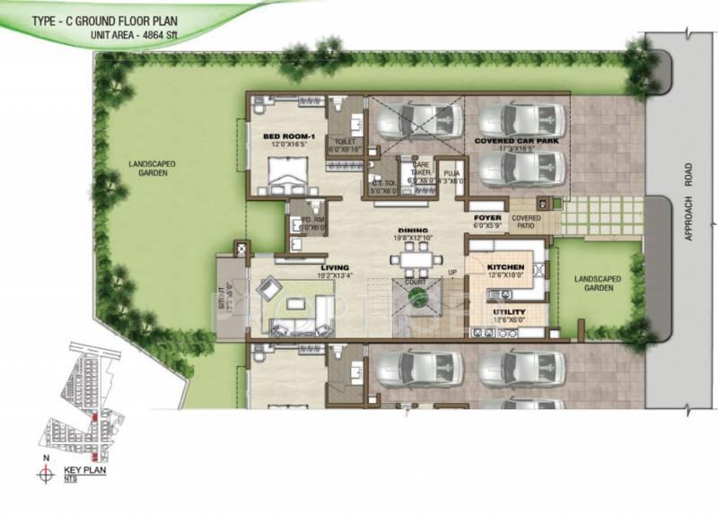 Prestige Silver Springs (4BHK+6T (4,864 sq ft) + Servant Room 4864 sq ft)