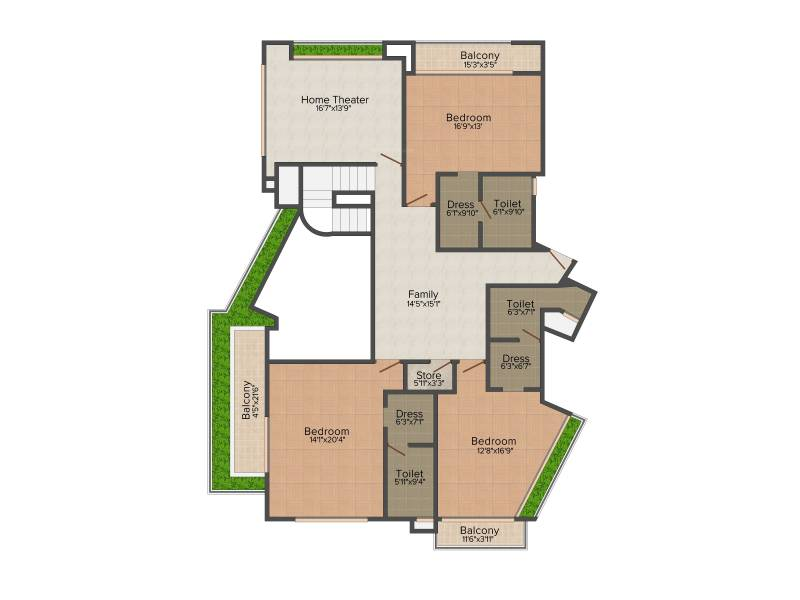 Olympia Reflection Sky Homes (4BHK+7T (6,600 sq ft)   Servant Room 6600 sq ft)
