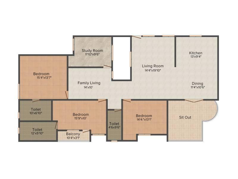 Pace Prana (3BHK+3T (2,522 sq ft) + Study Room 2522 sq ft)