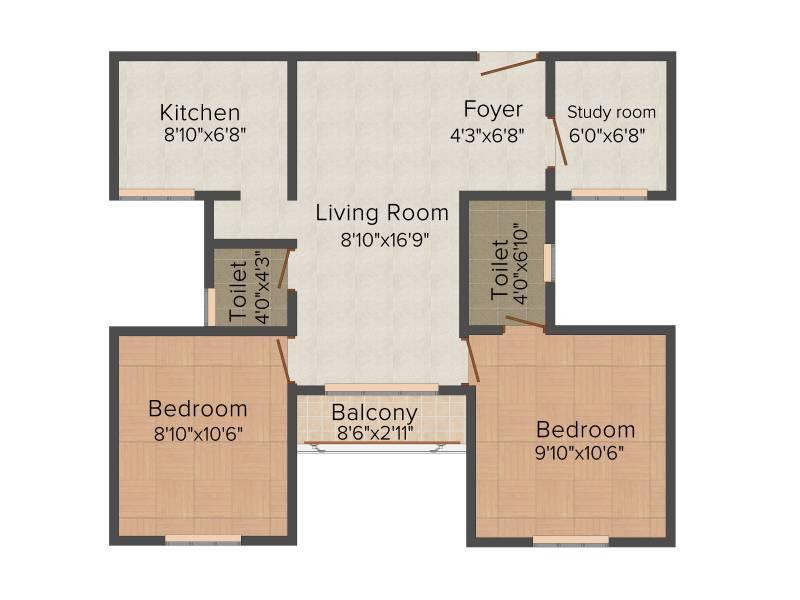 Mahindra Nova (2BHK+2T (836 sq ft) + Study Room 836 sq ft)