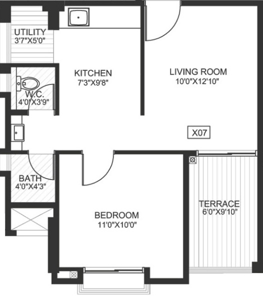 640 Sq Ft 1 Bhk Floor Plan Image Godrej Properties