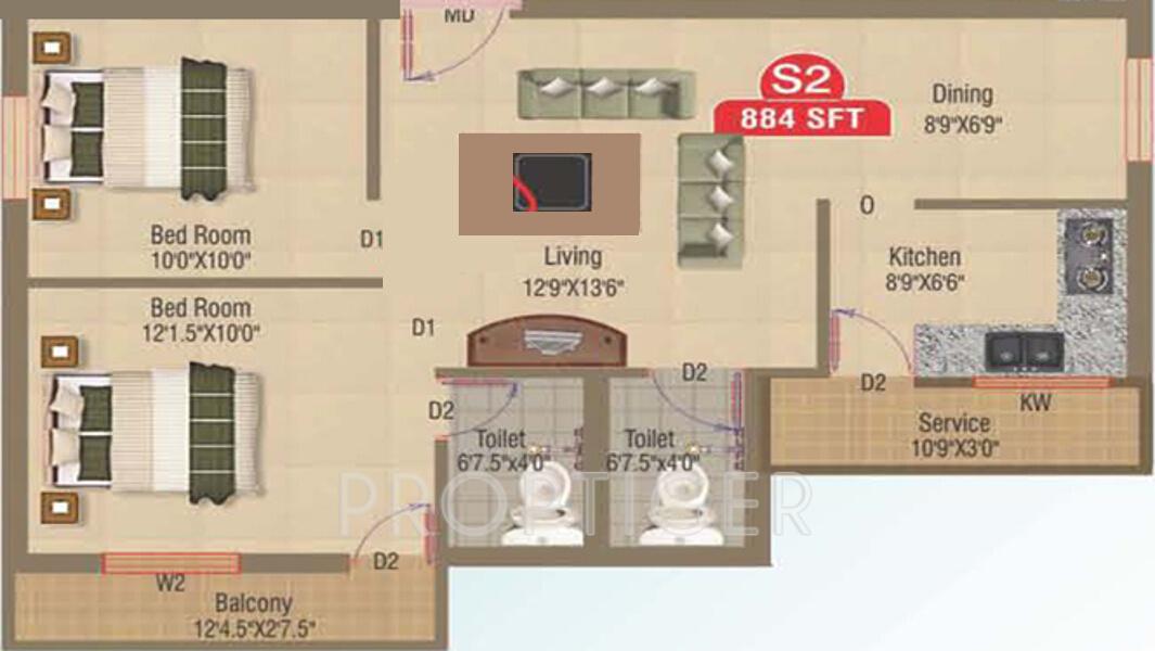 884 sq ft 2 bhk 2t apartment for sale in amudha castia for Apartment plans chennai