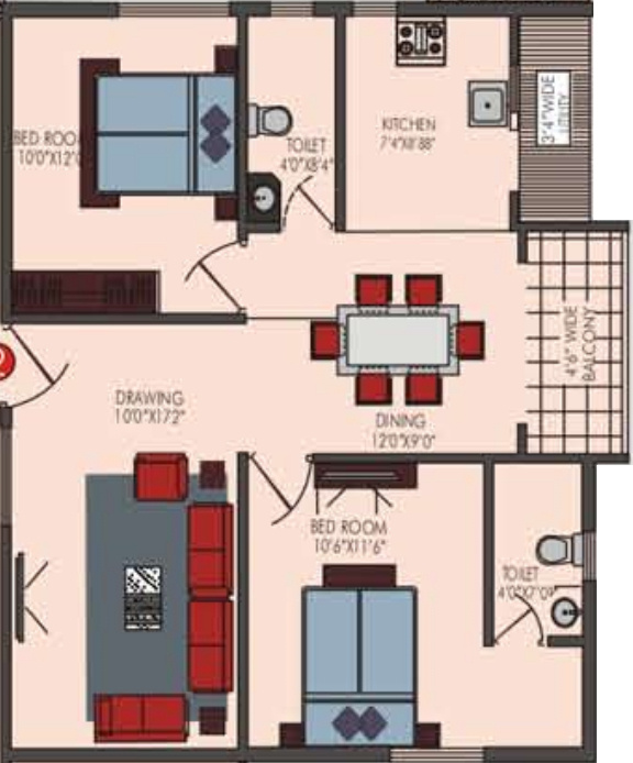 1050 sq ft 2 bhk 2t apartment for sale in sekhar for 1050 sq ft floor plans