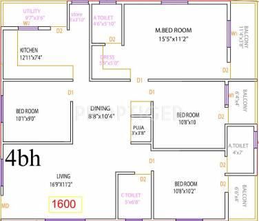 1600 Sq Ft 4 Bhk Floor Plan Image Vaastu Structures Greens Available For Sale Proptiger Com