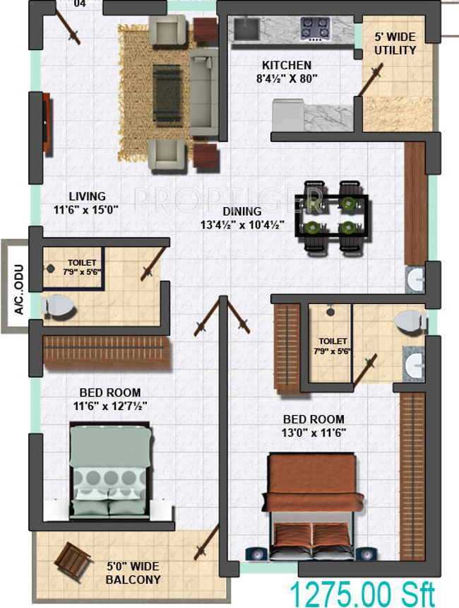 1275 sq ft 2 bhk 2t apartment for sale in my home vihanga for My house design