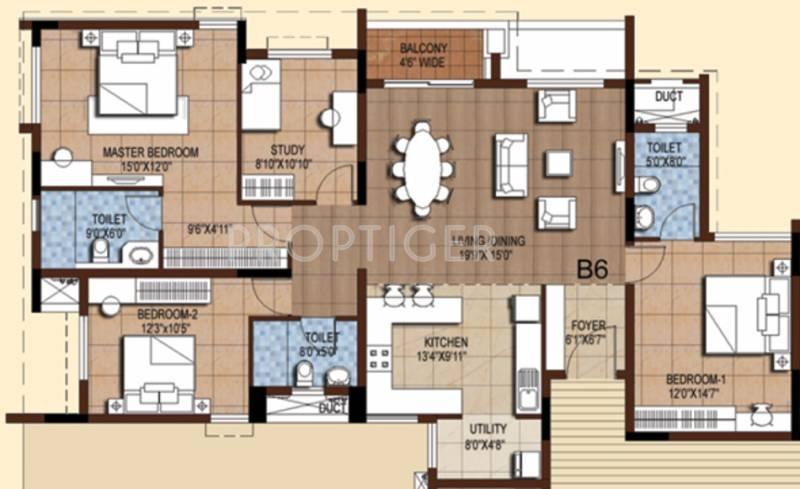 Akshaya Tango (3BHK+3T (1,912 sq ft) + Study Room 1912 sq ft)