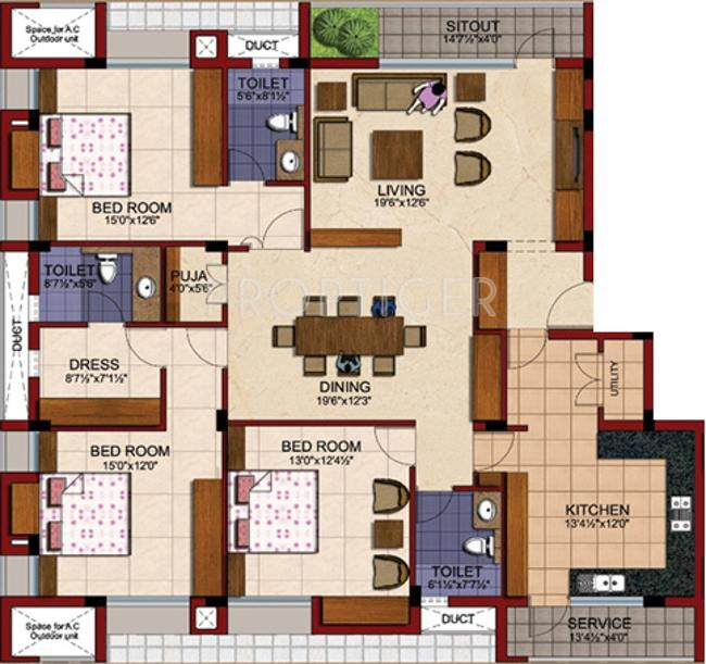 2500 sq ft 3 bhk 3t apartment for sale in tvh battika for 2500 sq ft apartment plans