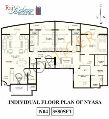3580 sq ft 4 bhk 4t apartment for sale in snn raj lake for Lake view floor plans