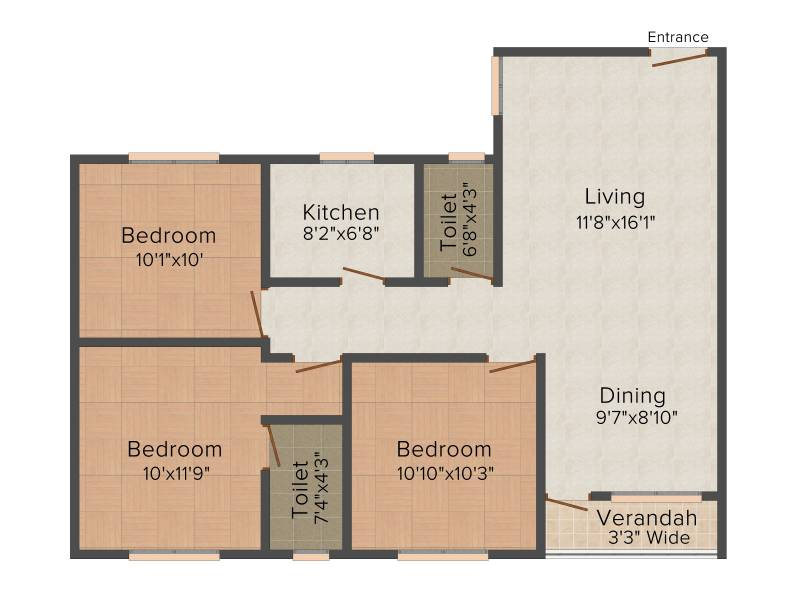 Skyline Harmony (3BHK+3T (1,205 sq ft) 1205 sq ft)