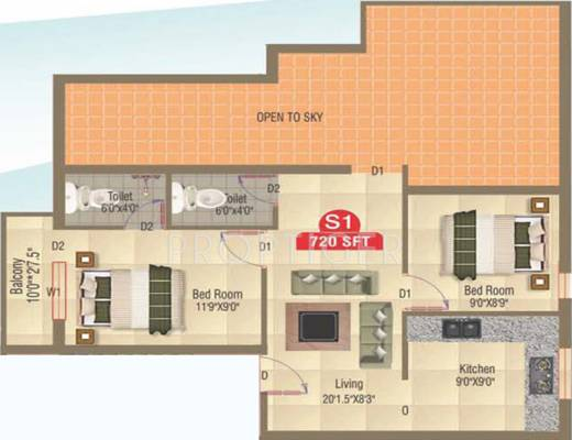 720 sq ft 2 bhk 2t apartment for sale in amudha castia for 720 sq ft apartment floor plan
