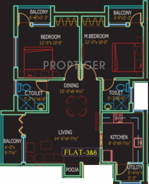 Fifth The Nook (2BHK+2T (896 sq ft)   Pooja Room 896 sq ft)