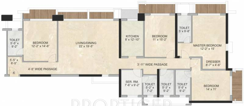 3200 sq ft 4 bhk floor plan image kalpataru group for 3200 sq ft house plans