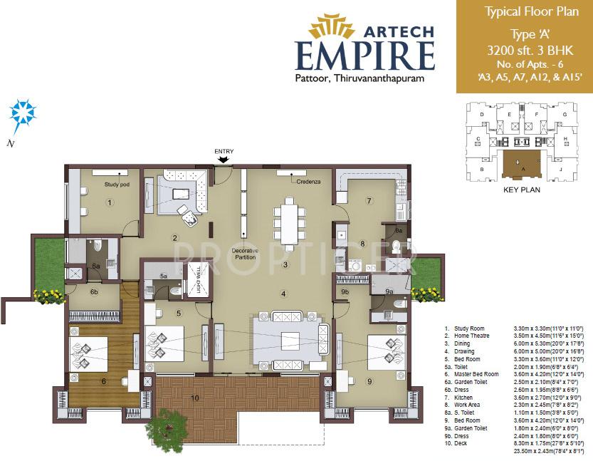 3200 sq ft 3 bhk 3t apartment for sale in artech realtors for Floor plans for realtors