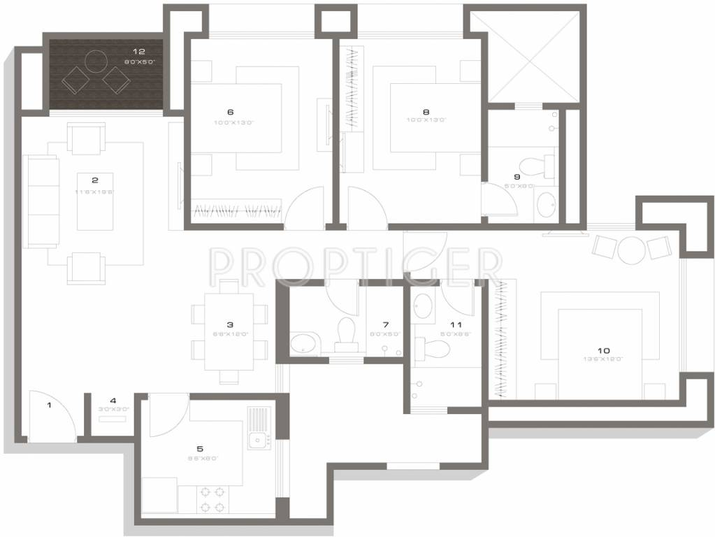 1445 sq ft 3 bhk 3t apartment for sale in house of for Apartment plans chennai