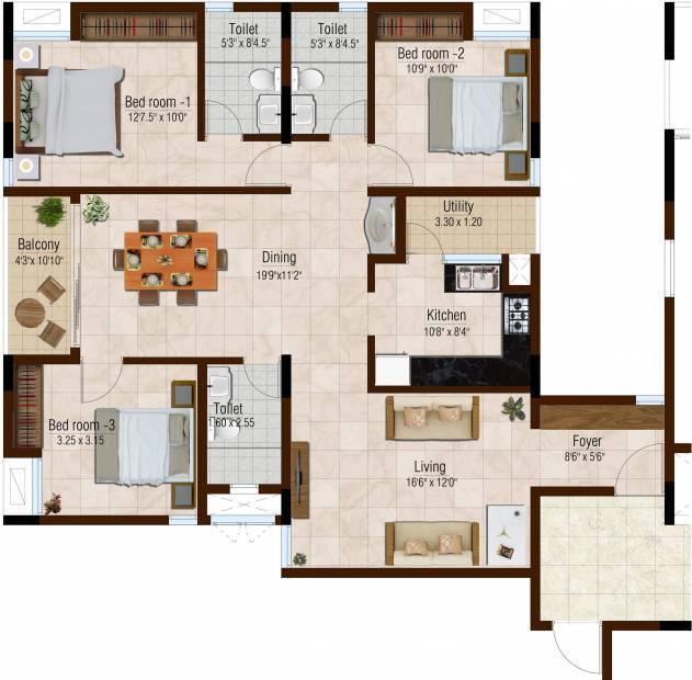Srivari Ananyaa (3BHK+3T (1,740 sq ft) 1740 sq ft)