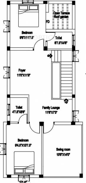 1960 sq ft 3 bhk floor plan image pappas builder duplex for Duplex builders near me