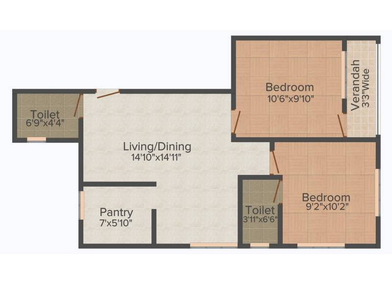Rupayan Su Casa Twins (2BHK+2T (777 sq ft) 777 sq ft)