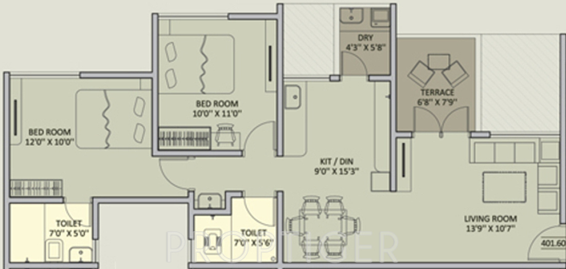 925 Sq Ft 2 Bhk 2t Apartment For Sale In Rainbow Housing