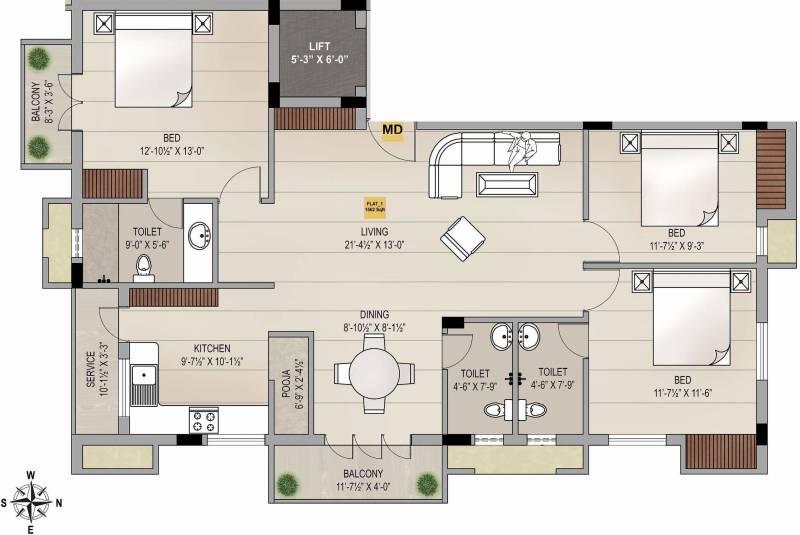 Sagas Group Chestnut (3BHK+3T (1,562 sq ft)   Pooja Room 1562 sq ft)