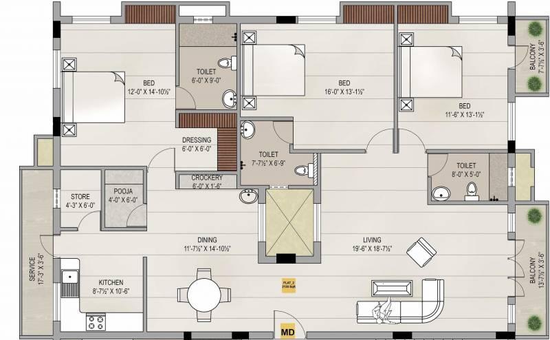 Sagas Group Chestnut (3BHK+3T (2,130 sq ft)   Pooja Room 2130 sq ft)