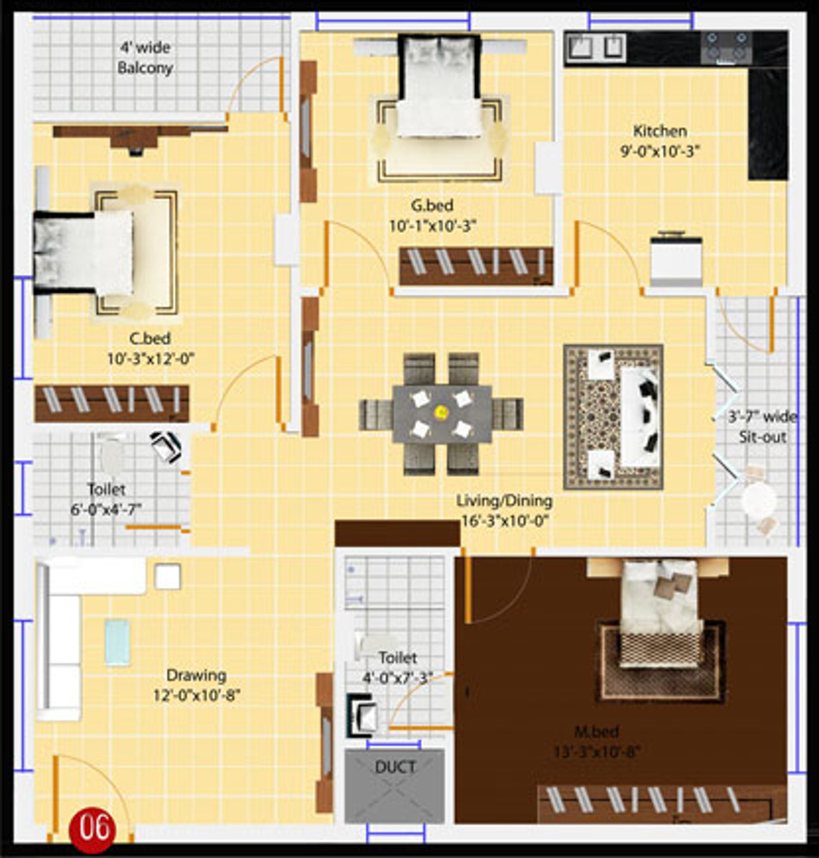 1305 sq ft 3 bhk 2t apartment for sale in aakriti housing for 12th floor apartments odessa