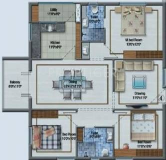 1490 Sq Ft 3 Bhk Floor Plan Image Aditya Construction Imperial Heights Available For Sale Proptiger Com