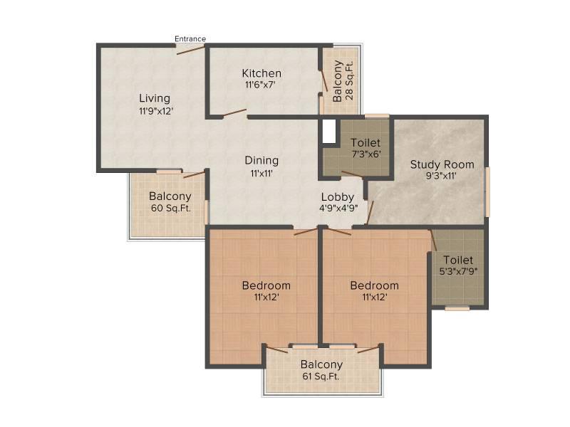 Vipul Gardens (2BHK+2T (1,362 sq ft)   Study Room 1362 sq ft)
