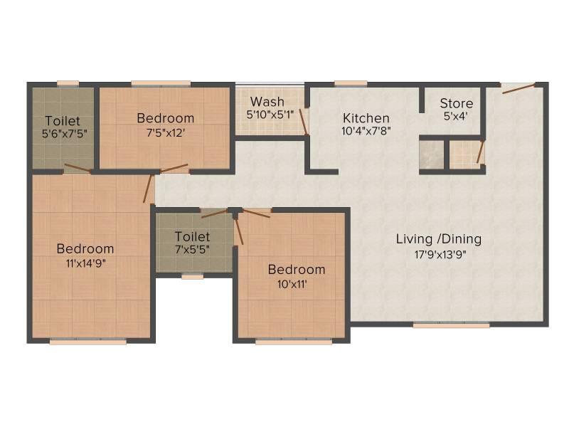 Narayan Heritage (3BHK+3T (1,608 sq ft)   Pooja Room 1608 sq ft)