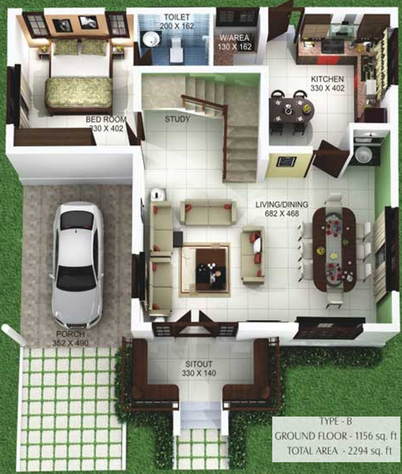 Kerala Nalukettu Floor Plans
