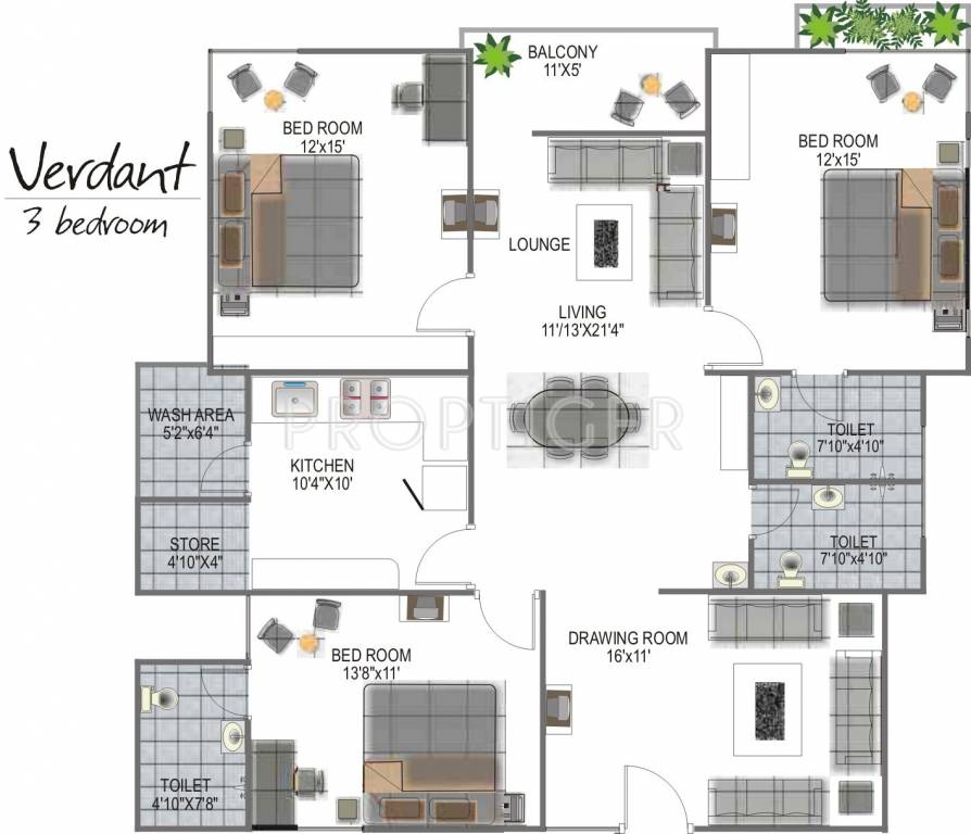 1836 Sq Ft 3 BHK 3T Apartment For Sale In Globus Group