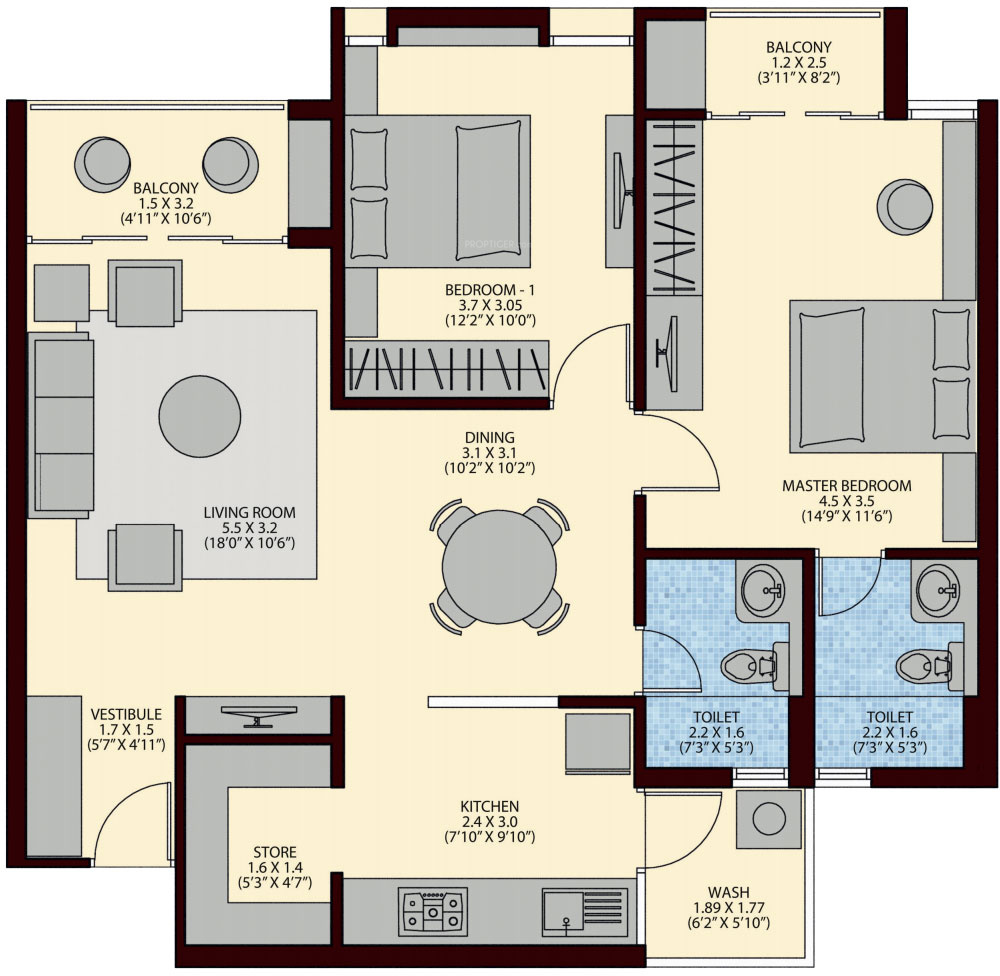 1288 sq ft 2 bhk 2t apartment for sale in ruchi realty for 12th floor apartments odessa