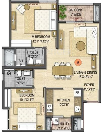 Olympia Opaline Sequel (2BHK+2T (1,135 sq ft) 1135 sq ft)