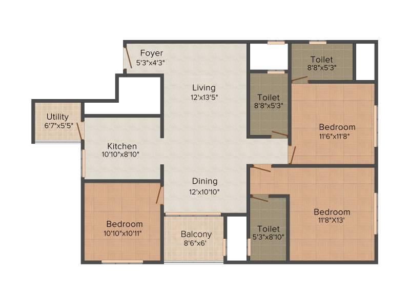 Sobha Silicon Oasis (3BHK+3T (1,514 sq ft) 1514 sq ft)