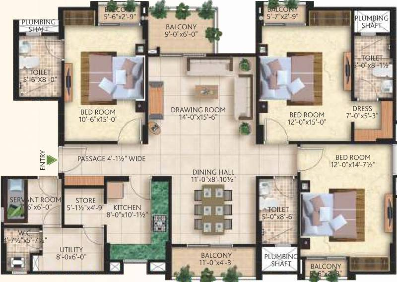 Mahima Nirvana (3BHK+3T (2,013 sq ft) + Servant Room 2013 sq ft)