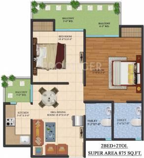 875 Sq Ft 2 Bhk Floor Plan Image Ajnara India Le Garden Available For Sale Proptiger Com