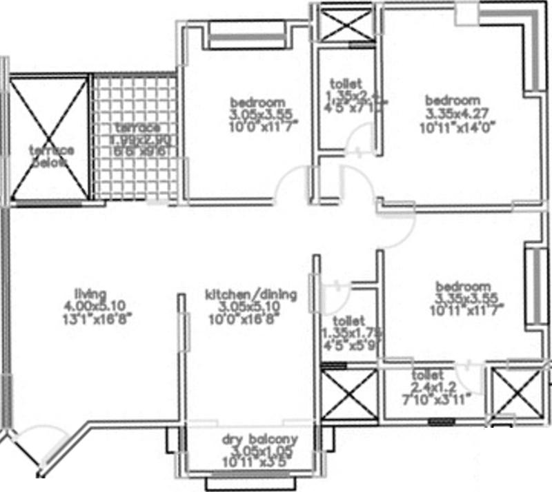1346 sq ft 3 bhk 3t apartment for sale in bu bhandari for Apartment plans bu