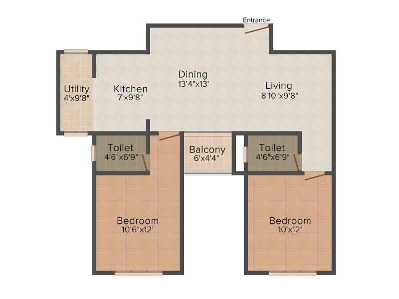 Bren EdgeWaters (2BHK+2T (1,121 sq ft) 1121 sq ft)
