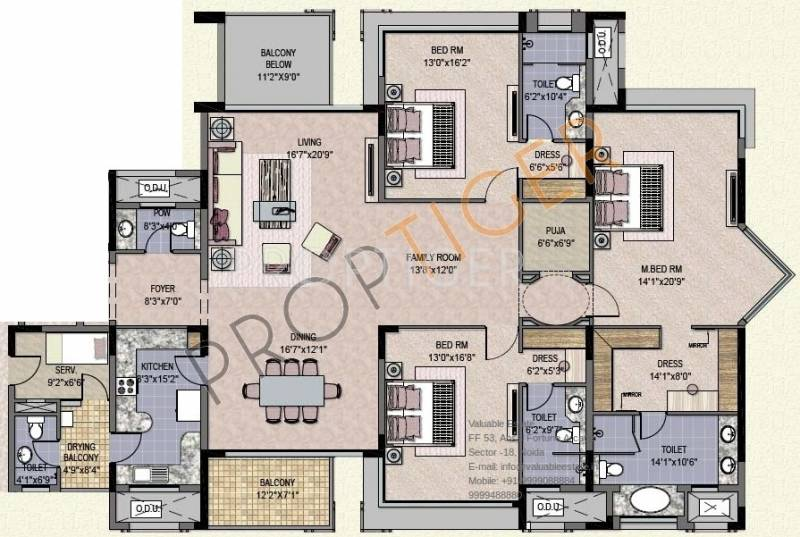 Jaypee Crescent Court (3BHK+3T (3,350 sq ft)   Servant Room 3350 sq ft)