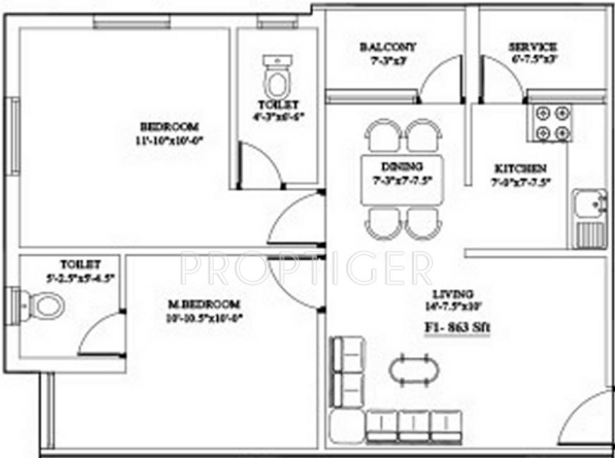 863 sq ft 2 bhk 2t apartment for sale in ganga chennai for Apartment plans chennai