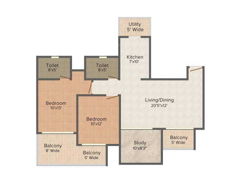 Mahagun Mahagun Meadows (2BHK+2T (1,425 sq ft) + Study Room 1425 sq ft)