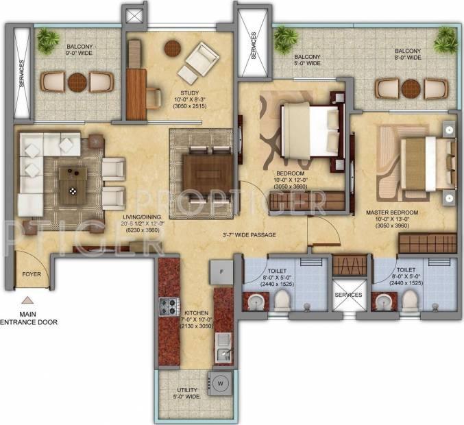 Mahagun Mahagun Meadows (2BHK+2T (1,465 sq ft) + Study Room 1465 sq ft)