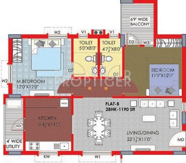 Riddhi Nest (2BHK+2T (1,190 sq ft) 1190 sq ft)