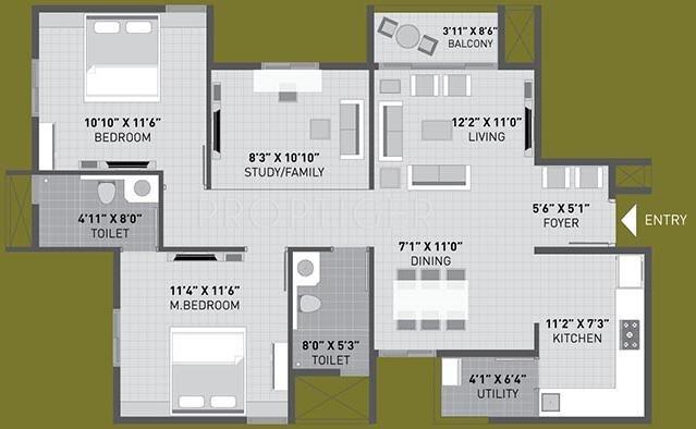 Arvind Sporcia (2BHK+2T (1,277 sq ft) + Study Room 1277 sq ft)