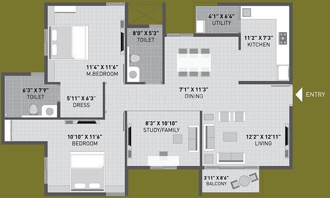 Arvind Sporcia (2BHK+2T (1,359 sq ft) + Study Room 1359 sq ft)
