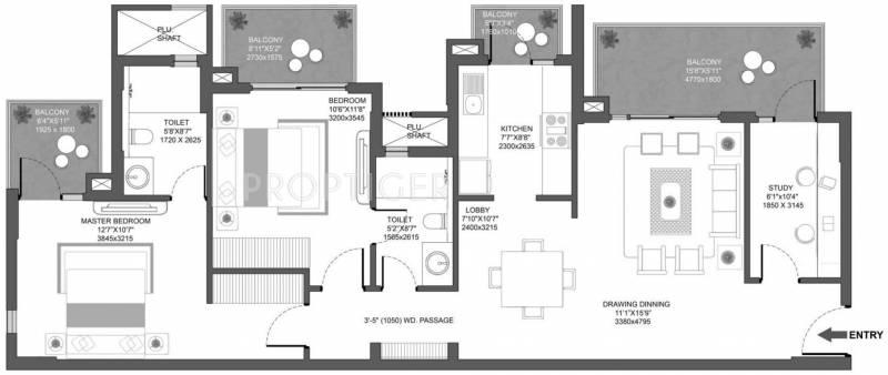 1479 sq ft 2 bhk floor plan image godrej properties for Landcraft homes floor plans