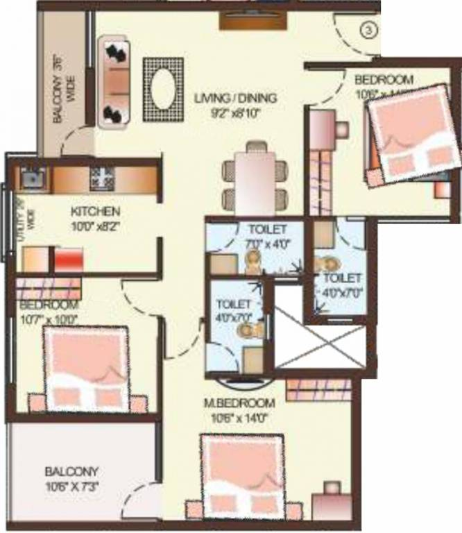 Glo Apartments: 1281 Sq Ft 3 BHK 3T Apartment For Sale In Dugar Homes Glo