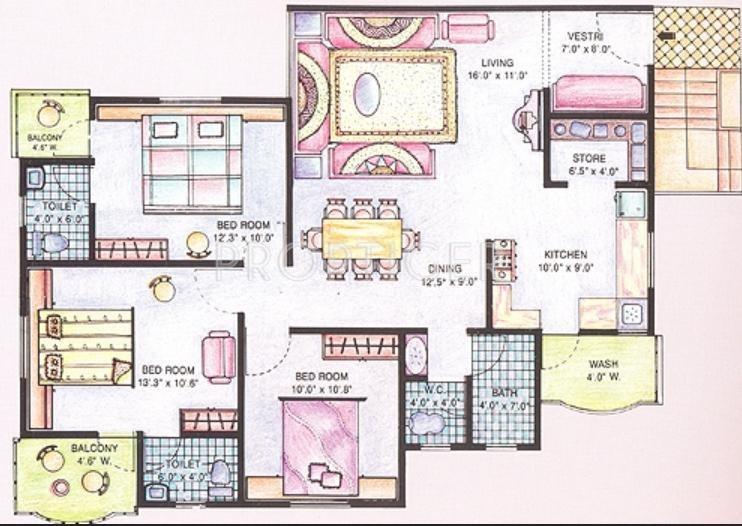 Shayona Land Corporation City Floor Plan (3BHK+3T)