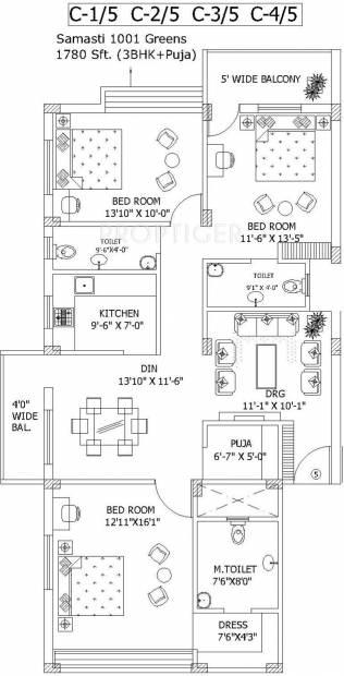 Samasti 1001 Greens (3BHK+3T (1,780 sq ft) + Pooja Room 1780 sq ft)