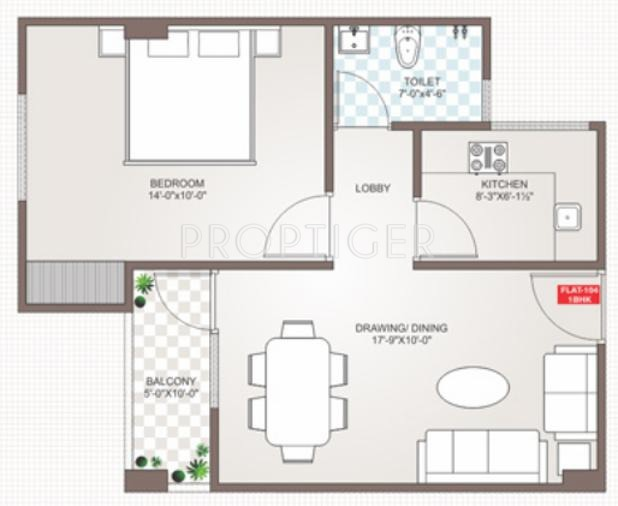 750 sq ft 1 bhk floor plan image guman group mayfair for Floor plans 750 square feet
