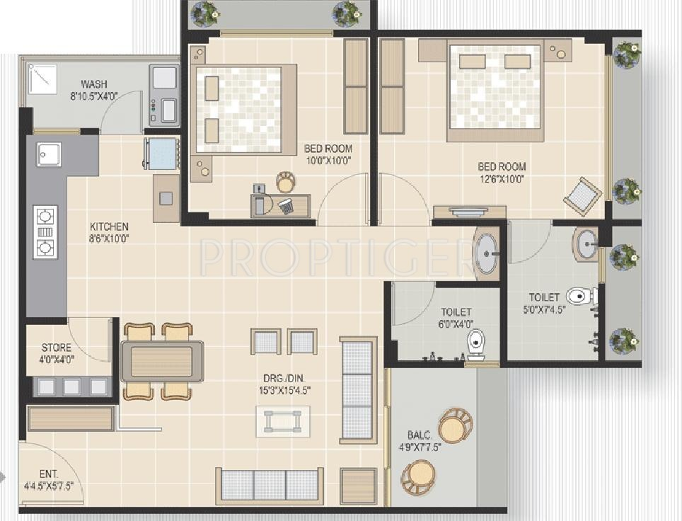 1350 sq ft 2 bhk 2t apartment for sale in v square for 1350 sq ft house plan